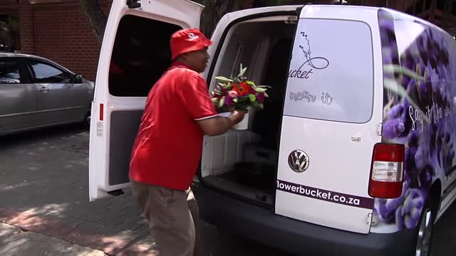 Exterior shots of a florist delivering flowers to the home of Arnold Pistorius the uncle of Oscar Pistorius on October 20 2015 in Pretoria South...