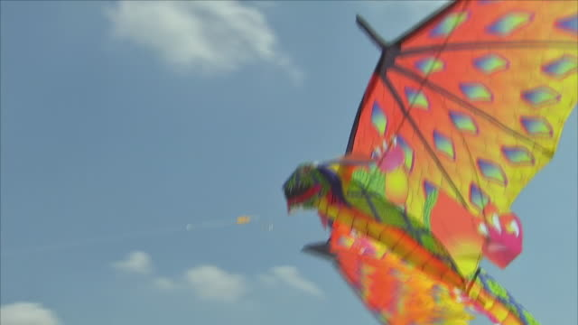 exterior shots of a kite being flown on a sandy beach on a sunny bank holiday on 28 may 2018 in west wittering, united kingdom - イーストサセックス点の映像素材/bロール