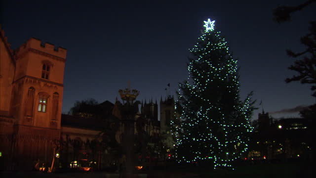 Exterior shots of a large Christmas tree lit up stood in Parliament Square on 26 November 2017 in London United Kingdom
