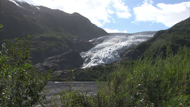exterior shots of a melting glacier in seward, alaska, as tourists walk past it on september 01, 2015 in anchorage, alaska. - anchorage alaska stock videos & royalty-free footage