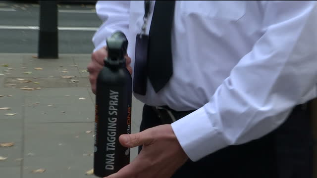 Exterior shots of a Metropolitan Police officer demonstrating new equipment to tackle moped crime as part of a new police initiative in London...