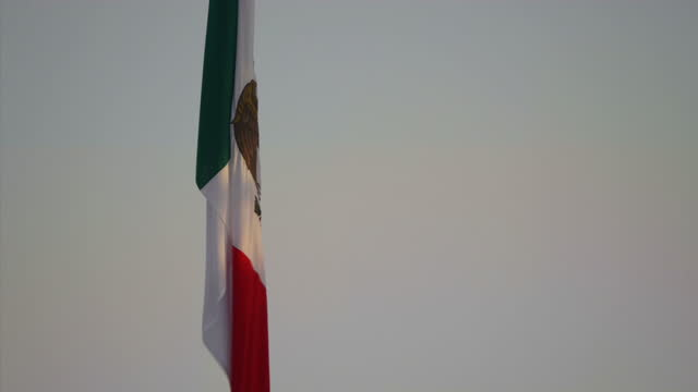 Exterior shots of a Mexican flag on a flagpole on the US Mexican border on 11 July 2017 in Yuma United States