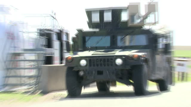 exterior shots of a military humvee driving on patrol on the fe warren us air force base an active nuclear missile bunker on 1 june 2017 in wyoming... - sand pit stock videos and b-roll footage
