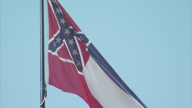 exterior shots of a mississippi state flag flying on september 25 2016 in jackson ms - jackson stock videos & royalty-free footage