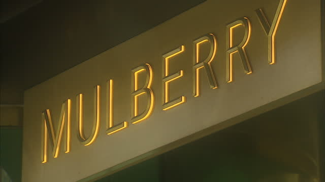 exterior shots of a mulberry store on bond street, including shots of luxury handbags on display in the window.>> on october 11, 2016 in london,... - purse stock videos & royalty-free footage