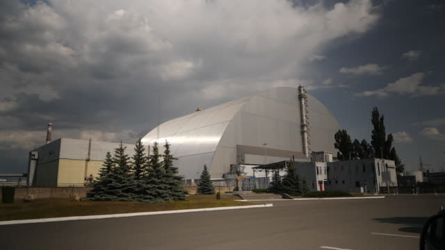 exterior shots of a new sarcophagus covering reactor number 4 on 10 june 2019 in chernobyl ukraine - number 4 stock videos & royalty-free footage