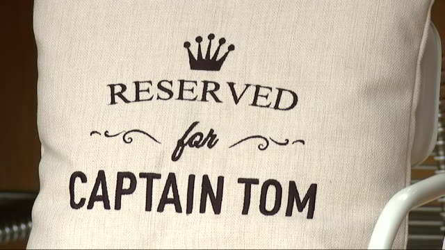 exterior shots of a pillow made for captain tom moore to mark his 100th birthday on 30 april 2020 in bedford united kingdom - captain tom moore stock videos & royalty-free footage