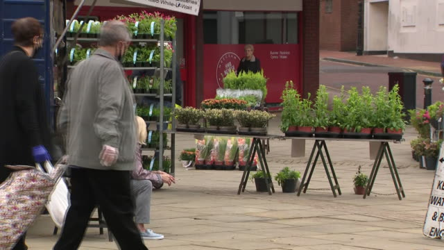 exterior shots of a plant seller with various flowers and pot plants for sale from a market stall on 3 august 2020 in wrexham, wales, united kingdom - salesman stock videos & royalty-free footage