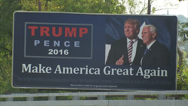 exterior shots of a roadside billboard promoting donald trump reading 'make america great again' on october 19 2016 in oxford ohio - 道ばた点の映像素材/bロール