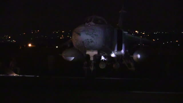 Exterior shots of a Russian Sukhoi Su23 Fencer on the runway at Latakia airbase ahead of bombing raids on opposition targets in Syria on December 21...