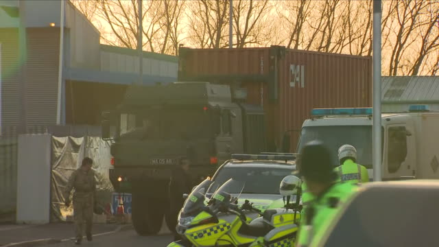 exterior shots of a shipping container containing the bmw car of poisoned ex-spy sergei skripal being lifted aboard a lorry on 16 march 2018 in... - film container stock videos & royalty-free footage