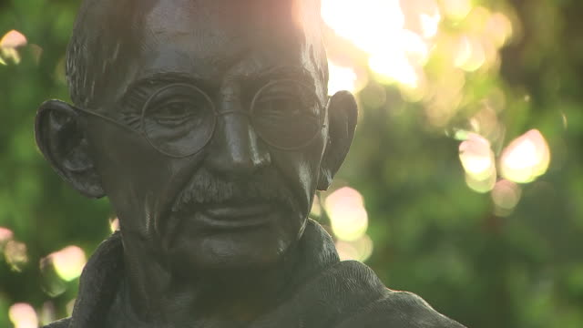 exterior shots of a statue of mahatma gandhi in parliament square on 10 august 2020 in london united kingdom - statue stock videos & royalty-free footage