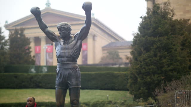 exterior shots of a statue of rocky outside the philadelphia museum of art on january 18 2017 in philadelphia city - liberty bell stock videos & royalty-free footage