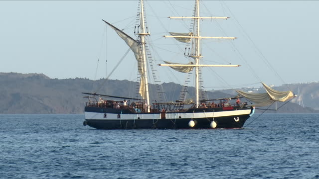 Exterior shots of a tall ship sailing in a harbour on 5 June 2018 in Santorini Greece