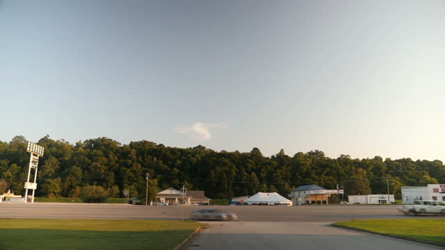 Exterior shots of a tent revival service being held in a marquee tent pitched at the side of a road on August 23 2017 in Harrison Arkansas