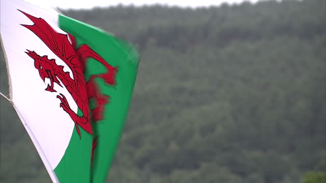exterior shots of a welsh flag flying, with a forested mountain in the background and a stormy grey sky on july 03, 2016 in swansea, wales. - typisch walisisch stock-videos und b-roll-filmmaterial
