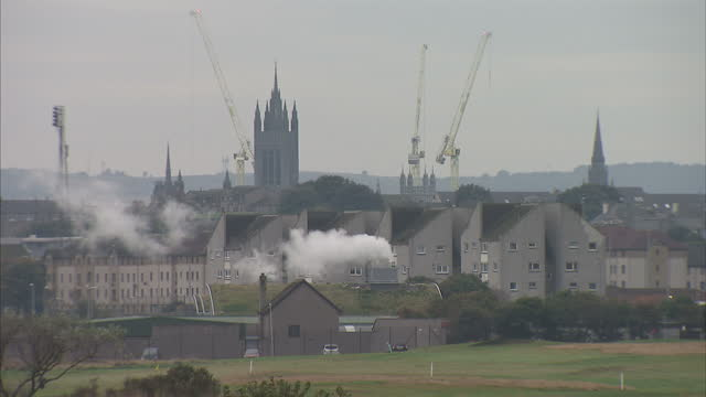 exterior shots of aberdeen's skyline including marischal college and cranes in the background on october 15 2015 in aberdeen scotland - aberdeen scotland stock videos & royalty-free footage