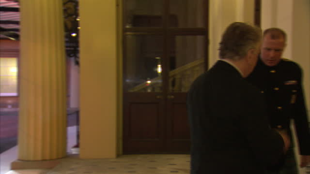 Exterior shots of actor Alan Rickman arriving at Buckingham Palace for a reception celebrating the dramatic arts in the UK>> on February 17 2014 in...
