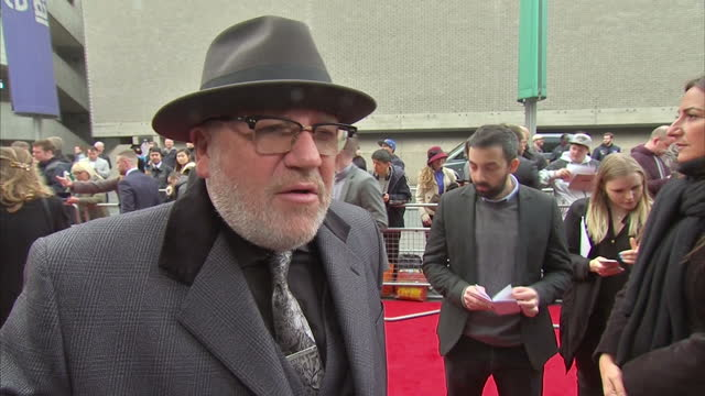 exterior shots of actor ray winstone arriving at the premiere of 'jawbone' and speaking to a reporter about what attracted him to the film saying... - ray winstone stock videos & royalty-free footage