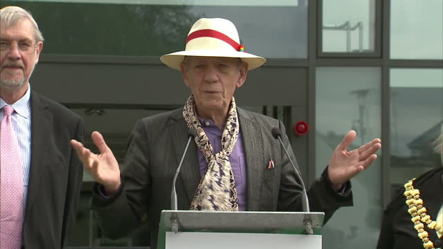 exterior shots of actor sir ian mckellen making an acceptance speech after being presented with a star in his hometown of wigan on june 08, 2015 in... - ian mckellen stock videos & royalty-free footage
