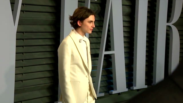 Exterior shots of actors and celebrities on the red carpet at the Vanity Fair Oscars Afterparty including Timothee Chalamet Heidi Klum and Taylor...