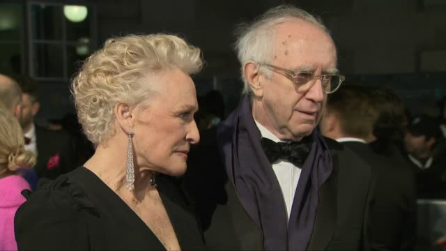 exterior shots of actors glenn close and jonathan pryce interview on the baftas red carpet on 10th february 2019 in london england - glenn close stock videos & royalty-free footage