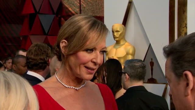 exterior shots of actress allison janney speaking to reporters on the red carpet.>> on march 04, 2018 in los angeles, california. - academy awards stock videos & royalty-free footage