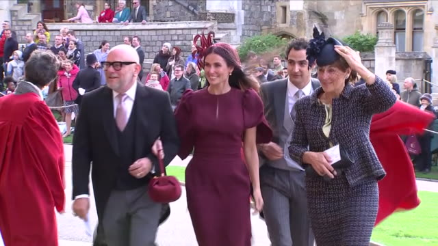 exterior shots of actress demi moore arriving at st george's chapel for the wedding of jack brooksbank and princess eugenie on 12 october 2018 in... - demi moore stock videos & royalty-free footage