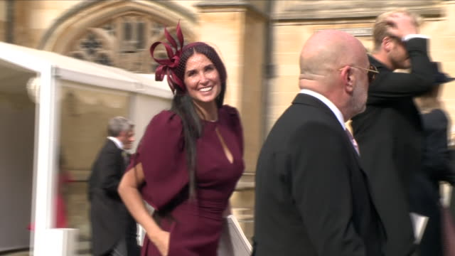 exterior shots of actress demi moore leaving st george's chapel and waving at the crowds after the wedding of jack brooksbank and princess eugenie on... - demi moore stock videos & royalty-free footage