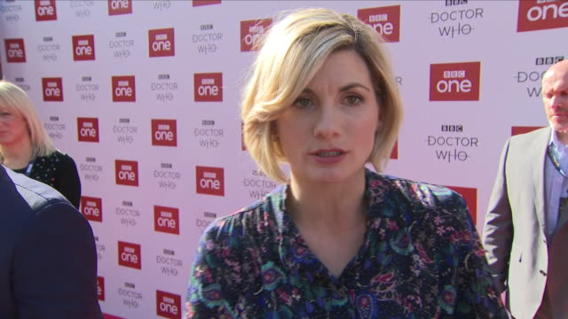 exterior shots of actress jodie whittaker's interview on the red carpet at the dr who premiere on the 24th september 2018 in sheffield, united... - doctor who stock videos & royalty-free footage