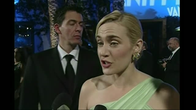 exterior shots of actress kate winslet arriving at vanity fair party after the oscars and talking to press on 25 february 2007 in hollywood, united... - oscar party stock videos & royalty-free footage