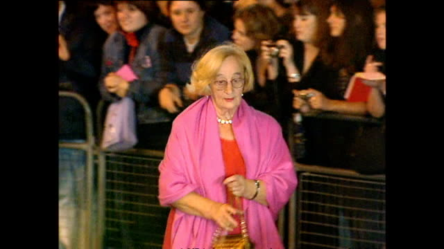 Exterior shots of actress Liz Smith arriving on the red carpet at the National Television Awards at the Royal Albert Hall on October 23 2001 in...
