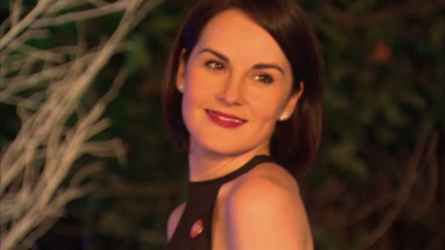 exterior shots of actress michelle dockery arriving and posing for photographs on the blue carpet at the winter whites gala at kensington palace... - 英格蘭 個影片檔及 b 捲影像