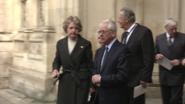 exterior shots of actress penelope keith departing from westminster abbey and speaking to journalists after attending a service of thanksgiving... - penelope keith stock videos & royalty-free footage