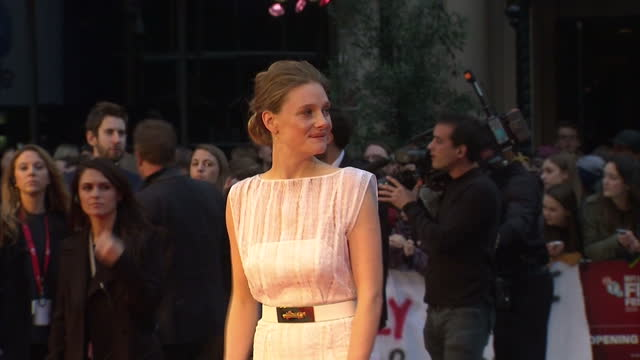 exterior shots of actress romola garai posing on the red carpet at the premiere of suffragette>> on october 07 2015 in london england - romola garai stock videos & royalty-free footage