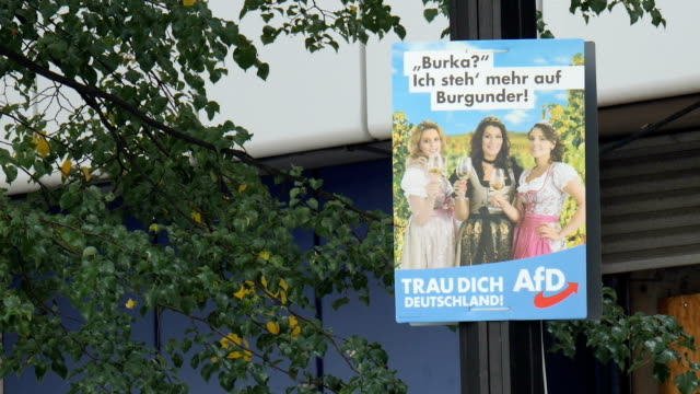 Exterior shots of AFD party posters on lamp posts on 24 September 2017 in Berlin Germany