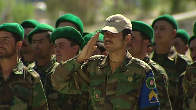 exterior shots of afghan national army troops at their graduation ceremony at the ana training centre in herat. afghan national army training on july... - afghan national army stock videos & royalty-free footage
