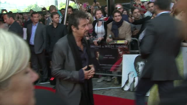 Exterior shots of Al Pacino and Jessica Chastain pose for photo op at the Film Premiere of Salome and Wild Salome on September 21 2014 in London...