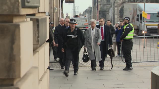 exterior shots of alex salmond arrives to the high court facing charges of sexual assault on 21 november 2019 in edinburg united kingdom - alex salmond stock videos & royalty-free footage