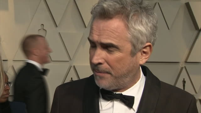 exterior shots of alfonso cuaron interview on the red carpet of the 91st academy award on 24th february 2019 in los angeles united states - アカデミー賞点の映像素材/bロール
