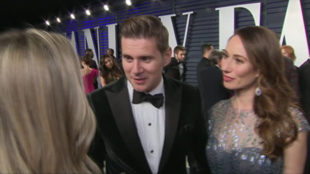 exterior shots of allen leech interview on the red carpet of the 2019 vanity fair oscar party on 24th february 2019 in los angeles united states - vanity fair video stock e b–roll