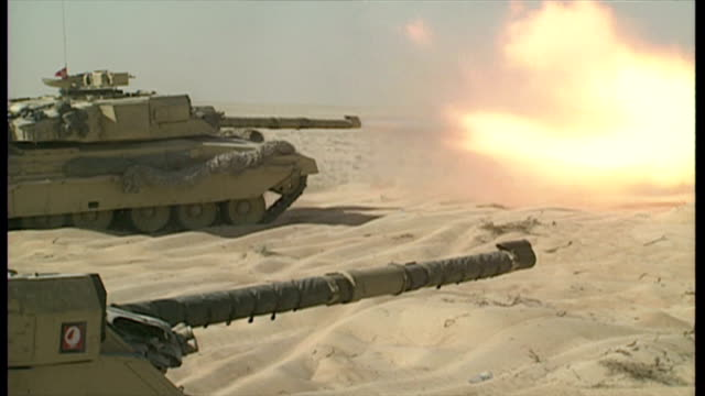 exterior shots of american tanks in the saudi arabian desert taking part in a training exercise during operation desert shield>> on january 13 1991... - iraq war stock videos and b-roll footage