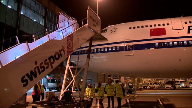 Exterior shots of an Air China Boeing 747 400 carrying Chinese permiker Xi Jinping stationary after arriving at Manchester Airport on October 23 2015...
