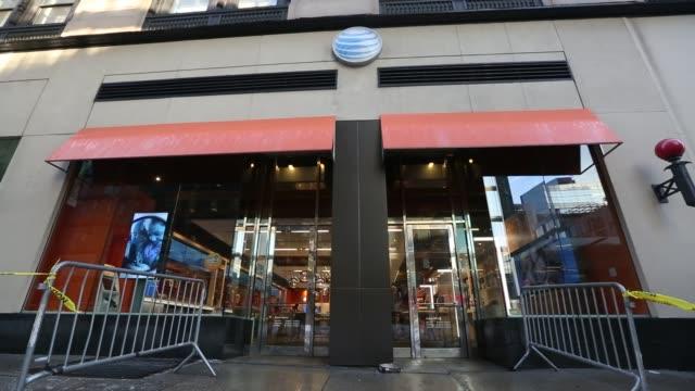 Exterior shots of an ATT Inc store in New York US on Monday Jan 25 2016 Photographer Michael Nagle Bloomberg Shots Wide shots of pedestrians walking...