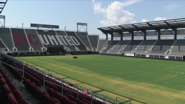 exterior shots of an empty audi field the home stadium of dc united with groundsmen and workmen making preparations on 8 august 2018 in washington dc... - major league soccer stock videos and b-roll footage