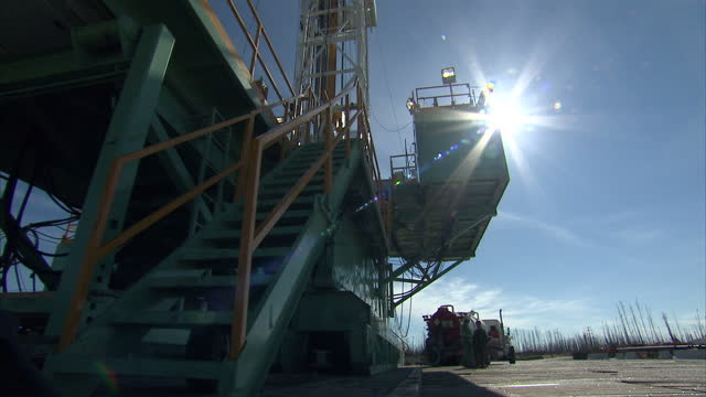 Exterior shots of an oil drilling platform in Alberta Canada at the start of the Keystone XL pipeline on October 22 2014 in Northern Alberta Canada