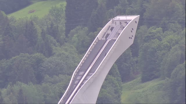 exterior shots of an olympic ski ramp in bavaria near the venue for the g7 summit in the bavarian alps on june 08 2015 in schloss holtestukenbrock... - g7サミット点の映像素材/bロール
