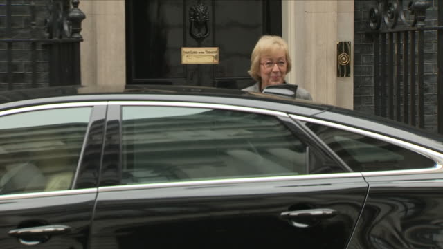 exterior shots of andrea leadsom mp energy and climate change minister arriving at downing street and enters number 10 on 12th june 2018 in... - andrea leadsom stock-videos und b-roll-filmmaterial