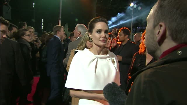 Exterior shots of Angelina Jolie speaking to reporters on the red carpet at the UK premiere of 'Unbroken'>> on November 25 2014 in London England