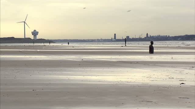 exterior shots of 'another place' artwork on crowsby beach - cast iron statues of antony gormley looking out to sea. antony gormley's another place... - see other clips from this shoot 31 stock videos & royalty-free footage
